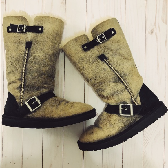 625acd936fe UGG Boots Dylan Long Buckled Crackle Leather